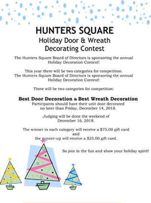 Hunter's Square Holiday Door Contest