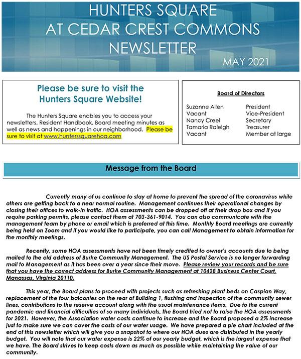 Hunter's Square Newsletter